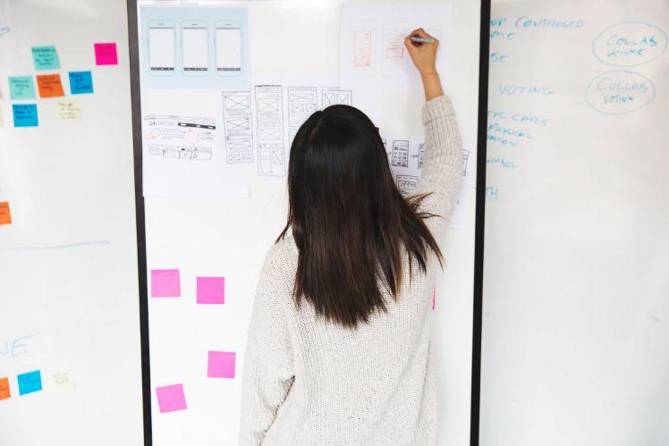mujer dibujando mockups en una pizarra- prototipo de app móvil