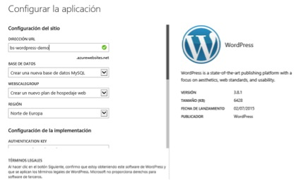 windows azure - wordpress