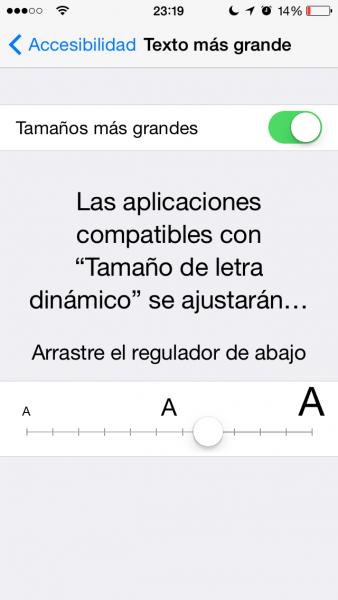 tamaño de texto app
