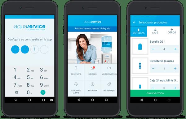 smartphones con app Aquaservice