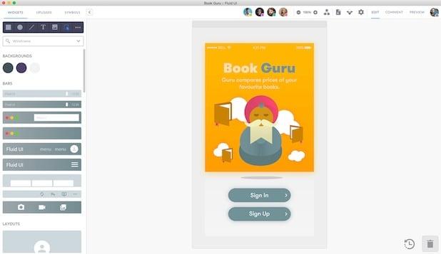 diseño de prototipos online con Fluid