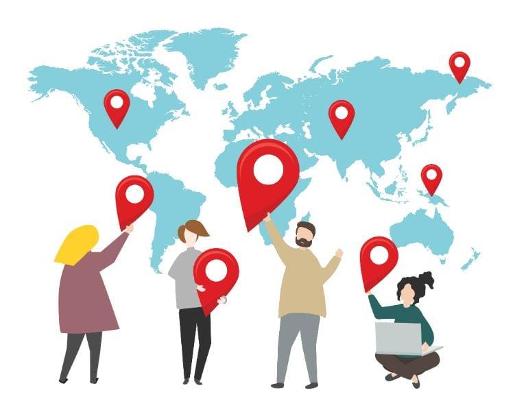 diferentes sitios en el mundo