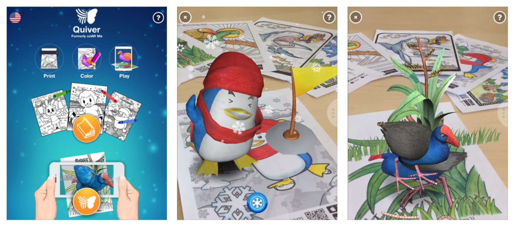 aplicación quiver con realidad aumentada para niños
