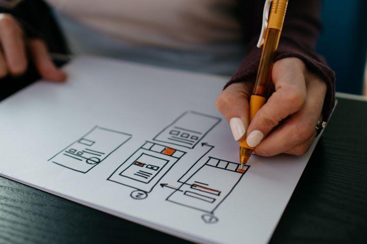 dibujo de wireframes de una app