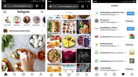 interfaz de instagram